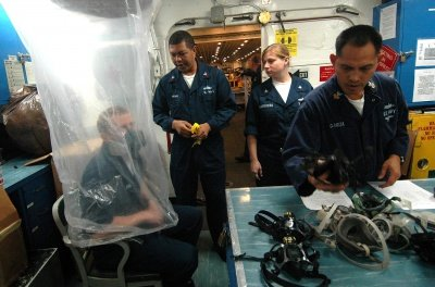 US Navy 061220-N-8146B-001 The Safety Department uses a plastic bag to conduct respirator fit testing aboard the amphibious assault ship USS Boxer (LHD 4).jpg
